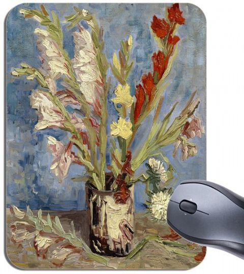 Vincent Van Gogh Vase with Gladioli and China Asters  Mouse Mat. High Quality Art Mouse Pad